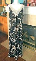 Soma Long Maxi Dress Empire Waist V Neck Stretch Black & Beige Floral Print XL