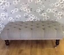 A Quality Long Deep Button Footstool In Laura Ashley Wootton Steel Fabric