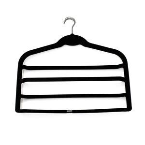 JVL Set of 4 Velvet Touch 4 Shelf Space Saving Non-Slip Trouser Hangers
