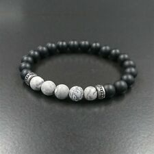 Brand New – Black Agate Bead Bracelet Grey Earth Stones with Stainless Steel