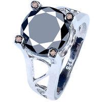 5.87 ct AAA BLACK MOISSANITE & WHITE NATURAL ROUGH DIAMOND .925 SILVER RING