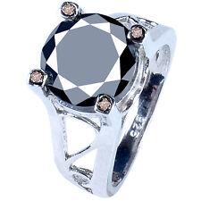5.78 ct AAA BLACK MOISSANITE & WHITE NATURAL ROUGH DIAMOND .925 SILVER RING