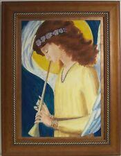 Angel Flute Music by  JJ Burke Crowley framed original Prismacolor on board