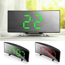 Digital Led Alarm Clock Mirror Display Temperature Snooze Table Usb Clocks Usa