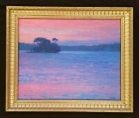 Colorful Sunset Original Oil Painting Seascape in Gold Frame Twilight Painting