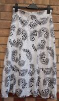 SUKHMANI WHITE BLACK FLORAL LACE SEQUINS BEADED A LINE PARTY FULL SKIRT 12 M