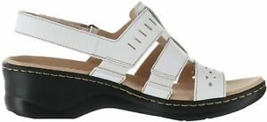 Clarks Collection Leather Cut Out Sandals Lexi Qwin White US 7 M NIB