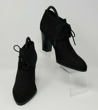 Franco Sarto Black Lace Ankle High Heel Boots 8.5 M Booties Suede Leandra