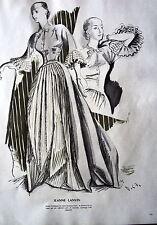 PUBLICITE 1947 MODE LES CROQUIS DE DELFAU ROBE JEANNE LANVIN MANTEAU SATIN FATH
