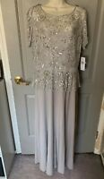 Pisarro Nights Women's Silver Beaded Short Sleeve Gown Size 14 NWT