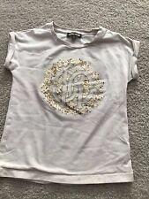 EEUC Authentic Roberto Cavalli Girl Beige Graphic T-shirt with Sequins SZ 5/114