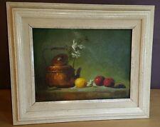 """E.C. Osborne signed framed Oil Painting Still Life Tea Kettle Fruit 14"""" x 17"""""""