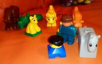 VINTAGE LEGO DUPLO FIGURES PLAYWORN 2 FIGURES 7 ANIMALS CROCODILE HORSE TIGERS
