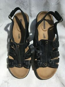 Clarks Collection Leximarigold Women's New Black And Gold Leather Sandals Sz 8