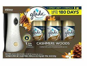 Glade Automatic Spray Air Freshener 1 Holder + 3 Refills, Cashmere Woods