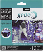 Gedeo Blue Coloured Mirror Effect Metal Leaf 12 Leaves Decoration Gilding Pebeo