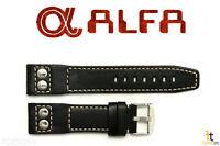 ALFA 20mm Black Genuine Smooth Leather RIVET Watch Band Strap Anti-Allergic
