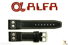 ALFA 24mm Black Genuine Smooth Leather RIVET Watch Band Strap Anti-Allergic