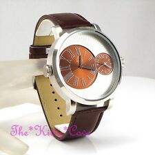 Designer Luk Silver Brown Leather Dual Time 2 Twin Zone Double Dial Sunray Watch