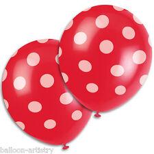 "6 ROSSO BIANCO Polka Dot Spot Stile Party 12 ""Stampato Lattice Palloncini"