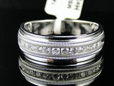 14K MENS WHITE GOLD DIAMOND WEDDING BAND RING 1/2 CT
