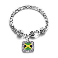 Inspired Silver Jamaican Flag Charm Braided Bracelet