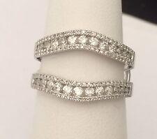 10k White Gold  Enhancer Prongs Set Diamonds Ring Guard Wrap Jacket Her Woman