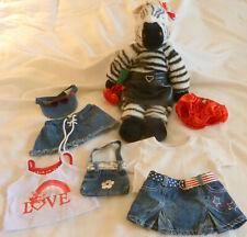"RARE LN Build A Bear Zebra 18"" Floppy Plush Sitting Stuffed Zoo Animal + Outfits"
