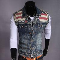 Men's New Stylish Denim Vest Sleeveless Jean Jackets Motorcycle Waistcoat hot#us