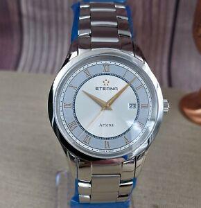 Eterna Artena Silver Dial- Gold Hands & Indices-OEM Bracelet & OEM Leather Strap