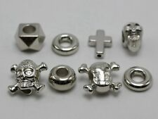 100 Assorted Silver Tone Metallic Acrylic Skull Ring Big Hole Beads Spacer