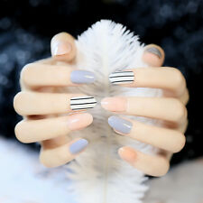 Stripe 24pcs Oval False Nails in acrylic box Full Designed Fake Nail Art Tips