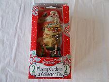Coca Cola Santa Tin-2 Decks of Bicycle Playing Cards-Christmas-Rare-Cards Sealed