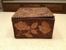 Vintage Old Pyrography Burnt Wood Dresser Box Floral Flowers Foliage