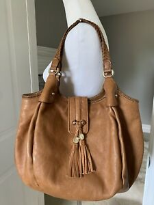 Auth Gucci Cognac Brown Leather Marrakech Large Hobo Bag Tassels Woven Handles