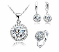 925 Sterling Silver Bridal Jewelry Set Womens CZ Necklace Earrings Ring Sz 6