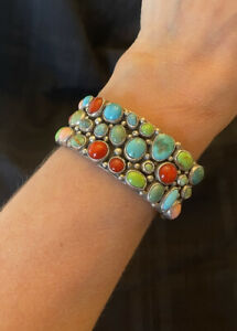 Gaspeite Turquoise Coral Cuff Bracelet Artists Rocki Gorman Kee Cook Sterling