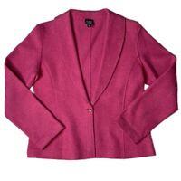 Women's Extra Small Eileen Fisher Pink Wool Blend One Button Blazer Jacket