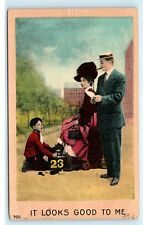 Young Boy Shoe Shiner Boot Polisher Married Couple Vintage Postcard D73
