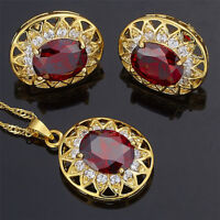 Red Ruby Brass Oval Cut Necklace Pendant Earrings 18K Gold Plated Jewelry Set