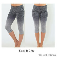Women Cropped Leggings Capri Running Yoga Sport Pants High Waist Tite  S M L XL