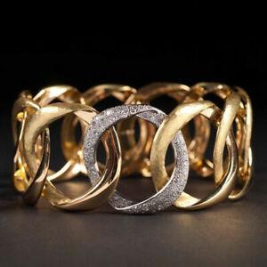 Women Wedding Band Ring 18k Yellow Gold Plated White Sapphire Rings Jewelry Gift
