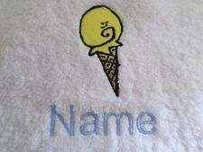 ICE CREAM 2 Embroidered onto Towels, Bath Robes, Hooded Towel Personalised name