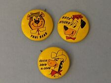 1961 vintage set 3 Hanna Barbera Pin Buttons Yogi Bear, Huck Hound, Draw McGraw