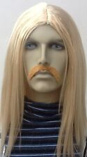 Blonde Hippy/Beatnik, 1970's Mens Long fancy Dress Wig & Droop Moustache Set