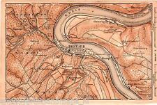 Antique map rhine Boppard karte Rhein 1900 kaart Osterspay Oberspay