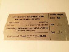 February 10, 1945 Uni. of MARYLAND College basketball boxing Ticket Stub WW2 ERA
