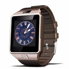 W09 Quad band Bluetooth Watch Phone Unlock 1.54'Touch Screen cell Phone brown