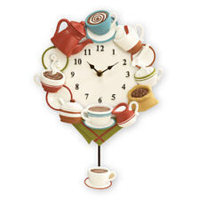 Collections Etc COMSP18255 Coffee Cup Pendulum Wall Clock