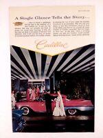 1957 Cadillac 4 Door Vintage Original Print Ad GM Automobile Pink